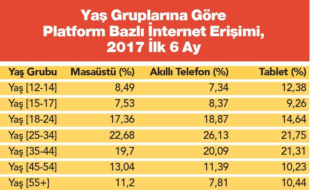 İnternet Kullanıcıları Yaş Grubu Dağılımı İstatistikleri